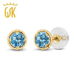 0adecfc9466d55 Topaz Earrings Gemstoneking 0.66 Ct Round 4mm Natural Blue Topaz 14k Yellow  Gold Stud Earrings For Women Y19052301