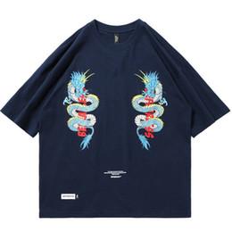 Men dragon shirt chinese online shopping - Summer Mens Hip Hop T Shirt Double Dragon Print Chinese Streetwear Harajuku Tshirt Cotton Short Sleeve T Shirts HipHop