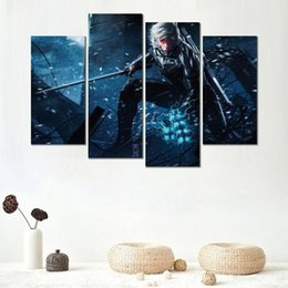 rose painting wall decor 2019 - 4 modular metal gear rising revengeance game canvas printed painting wall pictures for room decor cheap rose painting wa