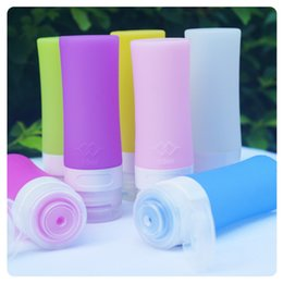 Gel Containers Australia - 40pcs 80ml Silicone Gel Refillable Bottles 80ml Traveler Packing Lotion Points Shampoo Container Press Bottles 4 Colors Option