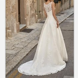 $enCountryForm.capitalKeyWord NZ - Vintage White Lace Sweep Train Boho Wedding Dresses 2019 Sexy Sheer Neck Bridal Gowns Custom Simple Hollow Back Country Wedding Gowns