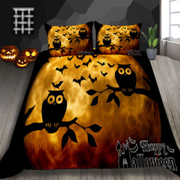 ChoColate duvet set king online shopping - Halloween Owl Print Bedding Set Twin Cartoon Cute High End Kids Duvet Cover D King Queen Double Single Full Bed Cover with Pillowcase