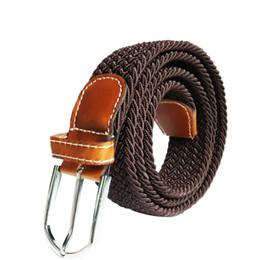 $enCountryForm.capitalKeyWord Australia - Unisex Canvas Elastic Waist Belt Men Women Waistband New Woven Leather Pin Buckle #10