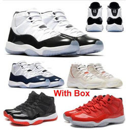 innovative design 532f7 1f63a 2019 New Concord 11 Bred 11s Men Wholesale Basketball Shoes Platinum Tint Space  Jam Blackout 11 prom night black With Box Free shipping