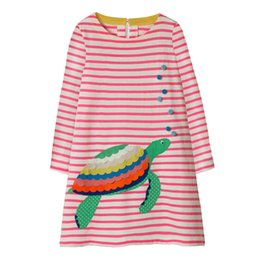 Children Straight Gown Styles UK - Animal Tortoise Girls Dress Pocket Stripes Kids Children Girls Infant Spring Cotton Baby Girls Dress Designer Unicorn Children Outfits