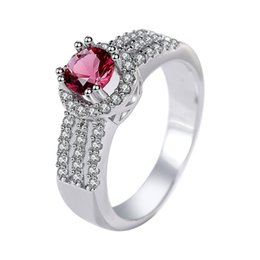 platinum sterling silver rings UK - 925 sterling silver inlaid ruby ring women's retro classic diamond ring bride wedding simulation zircon ring
