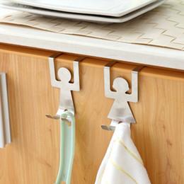 Kitchen Cabinets Sets Australia - 2pcs set Stainless Steel Cabinet Door Drawer Hook Clothes Hanger Towel Holder Home Organizer Kitchen