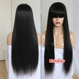 Wigs Bang Density Australia - 150% density Full Lace Wig With Bangs Human Hair Long Straight Virgin Brazilian Front Lace Wigs With Full Bangs For Black Women