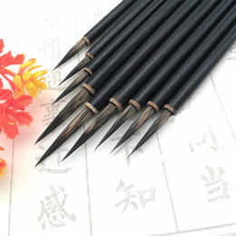 Chinese Brush Painting Australia - Black Hook Line Fine Paint Brush Chinese Calligraphy Brush Pen Weasel HairPaint Brush Art Stationary Oil Painting 3pcs set X 2set