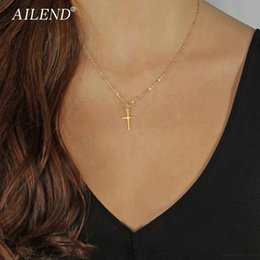 $enCountryForm.capitalKeyWord Australia - Summer Gold Chain Cross Necklace Small Gold Cross Religious Jewelry Women's Necklace