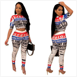 $enCountryForm.capitalKeyWord Australia - Newest Listing Newspaper Printing Women Tracksuits Two Pieces O Neck Half Sleeves T Shirt and Skinny Pants Nightclub Party Outfits 2019