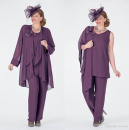 $enCountryForm.capitalKeyWord Australia - Elegant Purple Mother Of The Bride Pant Suits With Jackets Jewel Neck Cheap Wedding Guest Dress Plus Size Chiffon Mothers Groom