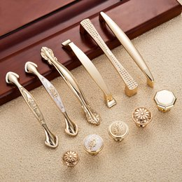 Kitchen Drawer Handles Pulls NZ - 2 pcs Gold Door Handles Wardrobe Drawer Pulls Kitchen Cabinet Knobs Handles Fittings for Furniture Handles Hardware Accessories
