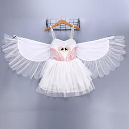 Dancing show Dresses online shopping - Girl Kids Clothing Swan dress Summer Susperder White dress With Angel Wing Dance Show elegant dress