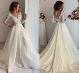 Wedding dress cheap online shopping - Illusion O neck Beach Wedding Dresses Sheer Covered Buttons Lace Long Sleeve Sweep Train Country Bohemian Wedding Gown Cheap