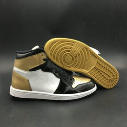 top best basketball shoes Australia - Come With Box 1 High OG NRG Gold Top 3 Man Basketball Designer Shoes What The Black Metallic Gold Fashion Trainers Best Quality