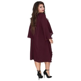 Dresses Apparel Australia - 6xl Womens Summer Designer Fashion Dress Crew Neck Ashymmetrical Batwing Clothing Polyester Chiffon Casual Loose Apparel