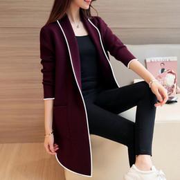 f4032df805b4 Chaquetas largas para mujer Patchwork Jersey de manga larga Otoño Tejido  suelto Mujer Estilo coreano Suéteres largos Abrigos