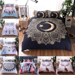 SheetS bedS online shopping - Feather Pattern Bedding Set Mandala Boho Bedding Cover Elephant Moose Pattern Bed Set No Sheet No Filling