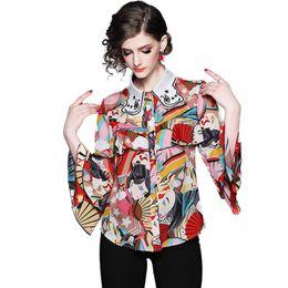 6352dbfcf6394 Vintage Silk Summer Fall Runway Women s Long Sleeve Print Shirt Ladies  Casual Office Spring Button Front Lapel Neck Shirt Blouse Tops