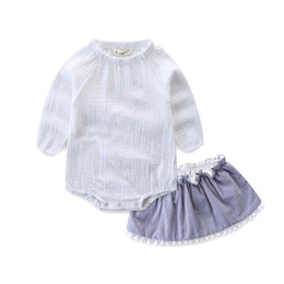 wholesale rompers bloomers Australia - INS Toddler Baby Girls Blank White Rompers with Ruffles Bloomers 2pieces Set Spring Summer Long Sleeve Tops Linen Cotton Solid Pants Suits