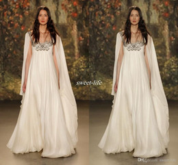 Jenny Packham Crystal Wedding Dress Australia - Empire Waist Maternity Wedding Dresses with Cowl Back Scoop Neck Beaded Crystal Chiffon Plus Size Long Boho Bridal Gowns Jenny Packham