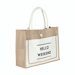 jute cloth Australia - Jute button handbag with cotton cloth fashion environmental protection jute portable shopping bag composite waterproof jute bag