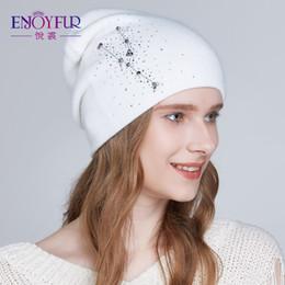d4068efcab6577 ENJOYFUR Women winter hats Knitted angora wool hat 2018 fashion new arrival  Rhinestones beanies for lady