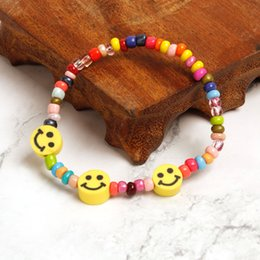 $enCountryForm.capitalKeyWord Australia - biu-charm bracelets Smiling face round bead bracelet Smiling face design, add a sense of happiness Bright and shining delicate fashion