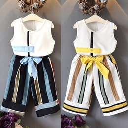$enCountryForm.capitalKeyWord Australia - 2-7Y New Fashion Toddler Kids Baby Girl Summer Clothes Sets Outfits Sleeveless T-shirt Tops+Striped Wide Leg Long Pants Clothes