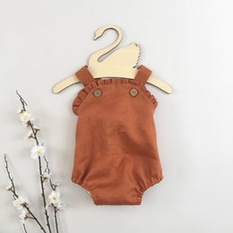 $enCountryForm.capitalKeyWord NZ - INS Designer Baby Baby Girls Romper Blank Button Organic Cotton Ruffles Collar Summer Linen Newborn Belt Jumpsuit Newborn Romper Onesies