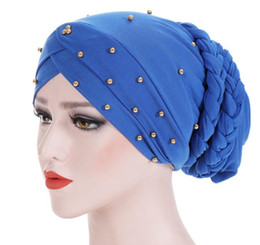 women velvet clothes NZ - New Beading Women Velvet Braid Hats Islamic Prayer Turban Hats Womens Muslim Inclusive Cap Muslims Hat Islamic Clothing GB956