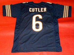 football stitch Canada - Cheap retro #6 JAY CUTLER CUSTOM MITCHELL & NESS Jersey bule Mens Stitching High-end Size S-5XL Football Jerseys College NCAA