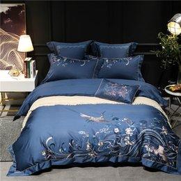 100S Egypt Cotton Luxury 4 / 7pcs Set biancheria da letto Queen / King Size Ricamato uccelli Letto set Copripiumino Biancheria da letto Federe in Offerta