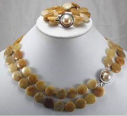 "$enCountryForm.capitalKeyWord Australia - Prett Lovely Women's Wedding charm Jew.657 New Design Natural gem Coin 17"" Brecelet & Necklace Jewelry Set silver-jewelry brinco"