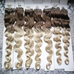 blonde human hair micro extensions 2019 - Body Wave Micro loop hair extensions 100G 1g strand 100g Micro Bead Link Human Hair Extensions Colored Hair Locks cheap