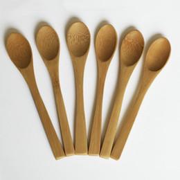 13 cm Cucchiaio di legno Marmellata di bambino del caffè Miele Bamboo Spoon mini cucina Stir condimento strumento di trasporto in Offerta