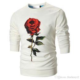White Rose Pattern Australia - Rose Prinetd Sweatshirts Mens Fashion Crew Neck Pullovers Roses Patterns Black And White Floral Tops M - 3XL