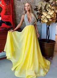 $enCountryForm.capitalKeyWord Australia - Sparkling Siliver Sequin Beaded Prom Dreses Elegant Yellow Organza A Line Floor Length Formal Evening dresses
