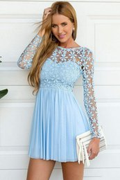 Wholesale blue lace skater dress resale online – Sky Blue Long Sleeve Crochet lace chiffon Skater Short Prom Homecoming Dresses Summer Holiday Elegant Cheap Short Occasion prom gown