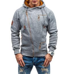 oblique jacket fashion 2019 - New Fashion Autumn Hooides Men Oblique Zipper Jackets Sweatshirts Men's Streetwear Clothes Grey Fleece Hoody Man Ov