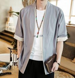 China Style Jacket Australia - 2019 Men Cotton Linen Jacket China Style Kongfu Coat Male Loose Kimono Cardigan Overcoat Open Stitch Coat Mens Windbreaker 5XL