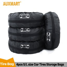 $enCountryForm.capitalKeyWord Australia - Auxmart 4Pc Spare Tire Cover Case Polyester Car Wheel Storage Bag Automobile Tyre Accessories Vehicle Tire Protector For SUV Car