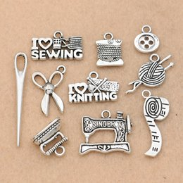 Sewing Plate NZ - ix Tibetan Silver Plated Sewing Ruller Needle Scissors Charm Pendants for Jewelry Making Bracelet Findings Accessories 10styles Mix Tibet...