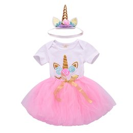 white lace shorts outfits UK - Baby Girl 1st Birthday 3pcs Unicorn Outfits with Headband & Romper & white Tops & Colorful Lace Tutu Skirts