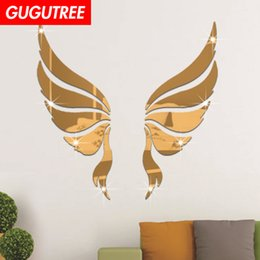 cartoon wings decals stickers Australia - Decorate Home 3D wings mirror art wall sticker decoration Decals mural painting Removable Decor Wallpaper G-225