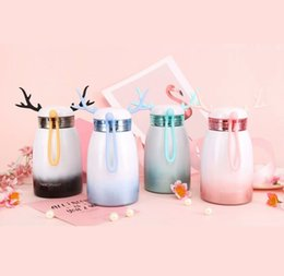 cute tumblers NZ - New Cute 320mL Gradient Color Deer Shape Stainless Steel Vacuum Insulated Mugs Drinking Bottles Coffee Cups Drinking Tumblers Christmas Gift