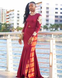 $enCountryForm.capitalKeyWord NZ - Dark Red Satin Mermaid Prom Dresses For Black Girl 2019 With Gold Lace Appliques High Neck Long Sleeves Sweep Train Formal Evening Gowns