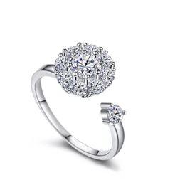 China Elegant Diamond Ring Unisex Platinum Zircon Inlay Open Ring Fashion Precious Jewelry Gift Wedding Couple Ring suppliers