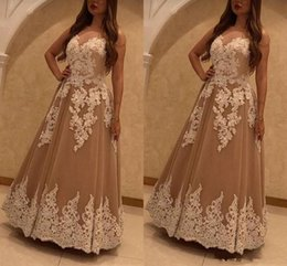 Sweetheart Beaded Evening Tulle Champagne Australia - Champagne Dresses Evening Wear 2019 Sweetheart Appliques Beaded A Line Tulle Formal Elgeant Robes De Soiree Party Prom Gowns